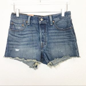 LEVI'S 501 Distressed Denim Shorts Blue 28